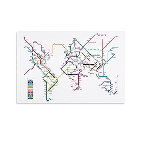 Poster con mappa metropolitana del mondo, poster decorativo su tela, decorazione da parete, soggiorno, camera da letto, 20 x 30 cm