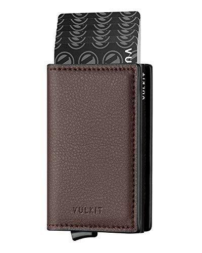 VULKIT Pocket Cartera Tarjetero Hombre Piel con Aluminio Caso RFID Bloqueo Tarjetero Minimalista con 3 Ranuras para Tarjetas y Billetes, Marron Oscuro