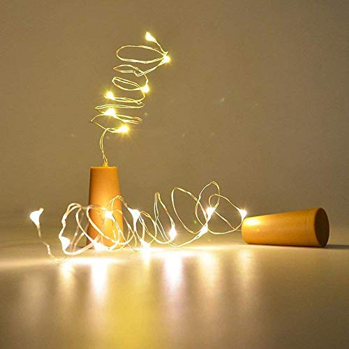 6 x Korken mit Lichterkette für Deko Glasflaschen, die warmweiße LED Lichter ergeben eine romantische Beleuchtung für den Garten aber auch für die Wohnung