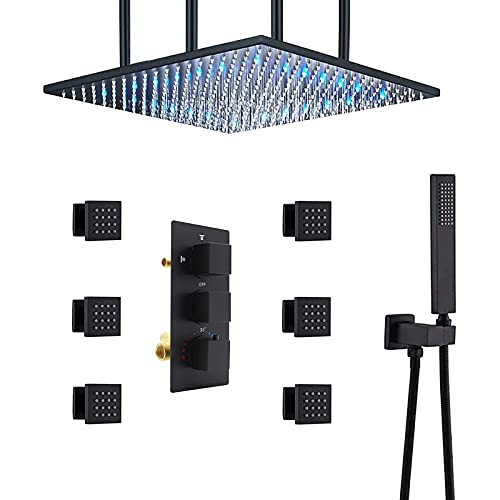 HOMEDEC Thermostatic LED Shower head with Body Sprays Bathroom Shower System with Hand Shower, Square Fixed Shower Head Color Changing with Water Temperature (20inch, Matte Black)