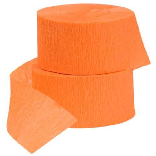 4 ROLLS Crepe Paper Streamers 290 ft Total-Made in USA (Orange)
