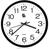 Libre Line Black Wall Clock - 13-inch Silent Non-Ticking Battery Operated Round Easy to Read Modern Home, Office, School - Quartz Clocks