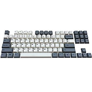 PBT Keycaps Top Printed Thick Cherry MX Key Caps 87 Keyset Dye Sub for Tenkeyless TKL 87 MX Switches Mechanical Gaming Keyboard Gray White Combo