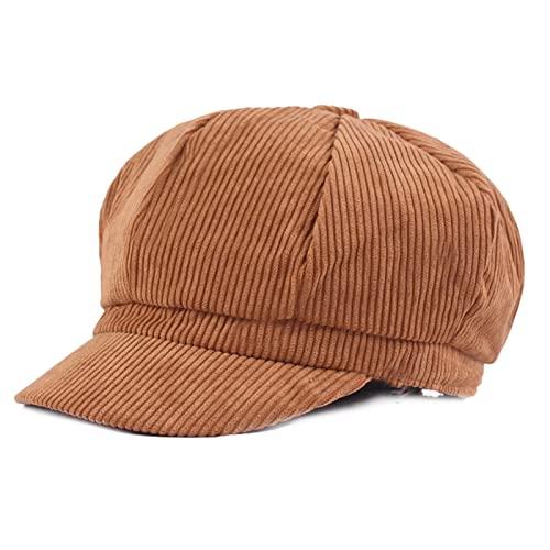 Womens Duckbill Cap Gatsby Ivy Hat Irish Newsboy Cabbie Golf Shooting Driving Hat Adjustable Light Tan