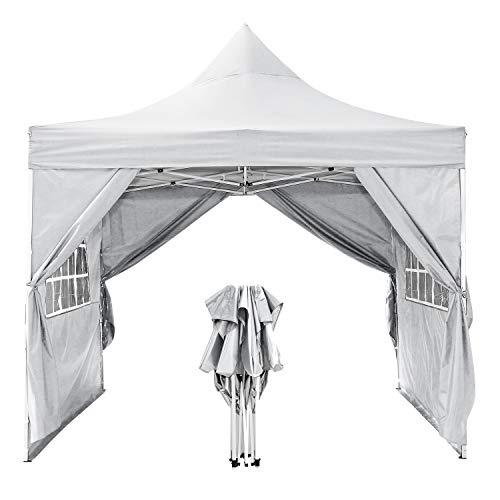 WOOKRAYS 3x3m Pavillon, Faltpavillon Wasserdicht Gartenpavillon mit 4 Seitenteilen für festzelt partyzelt/Garten/Hochzeit/Picknick Sonnenschut (weiß)