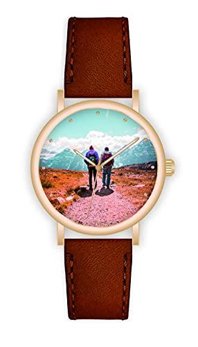 Memories - Reloj de pulsera personalizado con su foto Fashion, diámetro de 40 mm, color oro rosa, regalo de foto para amigos y familia, fabricado en Alemania