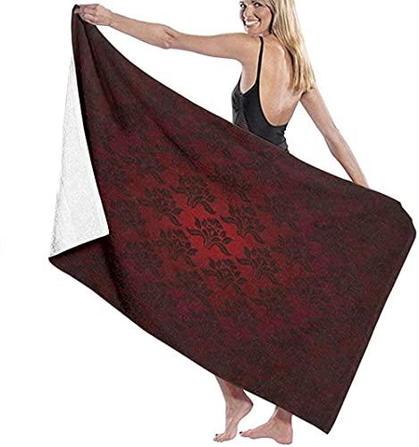 Telo Mare Grande 130 ×80cm, Colori sfumati rossi a righe testurizzati ,Asciugamano da Spiaggia in Microfibra Asciugatura Rapida,Ultra Morbido,Uomo,Donna,Bambina
