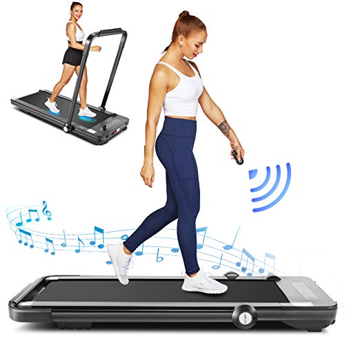 FUNMILY Folding Treadmill,Under Desk Treadmill for Home,2 In1 Running&Walking&Jogging Portable Machine with Bluetooth Speaker&Remote Control,Built-in 5 Modes&12 Programs,Installation-Free (Black)