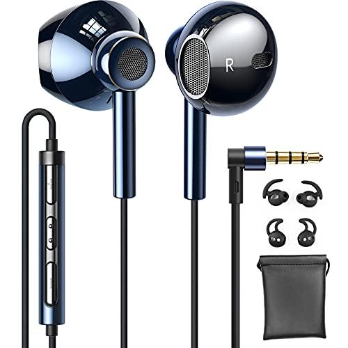 Linklike In Ear Kopfhörer mit Kabel 14,2 mm Membran Deep Bass 4D Stereo Quad Treiber Im Ohr Ohrhörer mit Mikrofon Komfort Headphone Kompatibel mit Samsung, iPhone, Huawei, Xiaomi, PS5(Saphirblau)