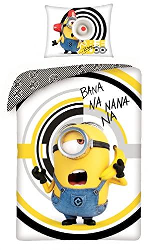 Halantex - MIN-9989BL - Juego de cama reversible de los Minions Bana NA Nana Nana Banana Rise Of Gru 100% algodón 2 piezas funda nórdica y funda de almohada - Multicolor - 140 x 200 cm / 70 x 90 cm