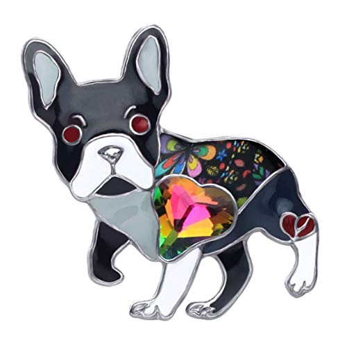 DUOWEI Alloy Enamel Rhinestone French Bulldog Pug Dog Brooch Pet Pin Scarf Clothes Jewelry Gift for Women Lover (Black)