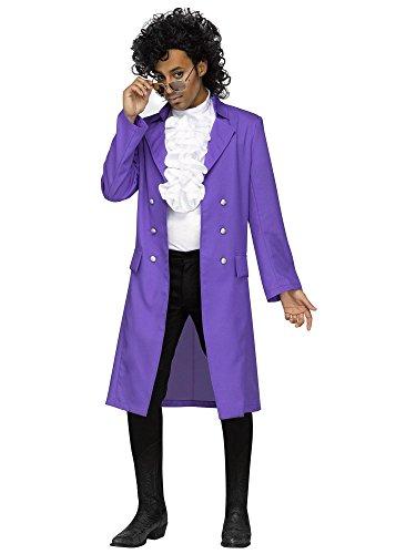 Men's Prince 80s Pop Star Purple Rain Costume, Standard or Plus Size