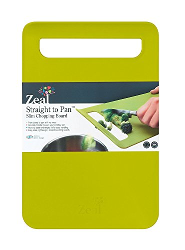 Zeal Straight to pan - Tagliere sottile., plastica, Lime Green, L (32,5 x 22 cm)
