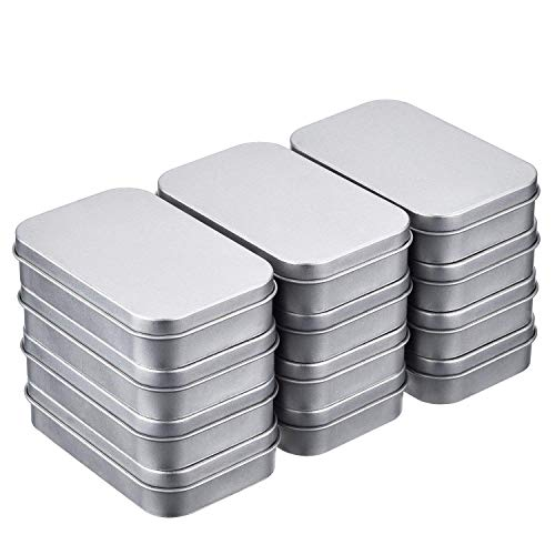 Taghua 12pcs Metal Rectangular Empty Hinged Tins Box Containers 3.7x2.5x0.8 in, Mini Portable Small Storage Container Kit Home Organizer
