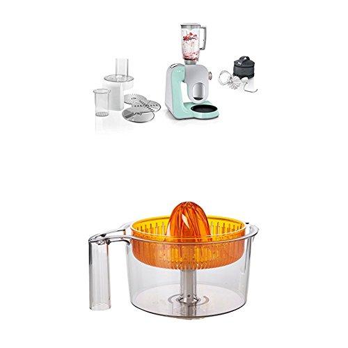 Bosch MUM58020 Küchenmaschine CreationLine, 1000 W, 3,9 l Edelstahl-Rührschüssel, 3D Rührsystem, 7 Schaltstufen, turquoise/silber + MUZ5ZP1 Zitruspresse transparent mit orangem Presskegel