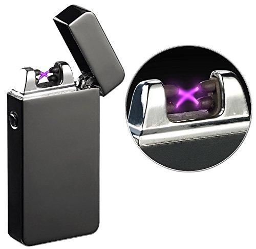 PEARL Sturmfeuerzeug: Elektronisches Feuerzeug mit doppeltem Lichtbogen, Akku, USB, schwarz (Plasma Feuerzeug)