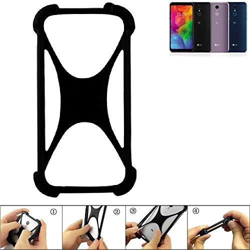 K-S-Trade® Handyhülle Für LG Electronics Q7 Alfa Schutz Hülle Silikon Bumper Cover Case Silikoncase TPU Softcase Schutzhülle Smartphone Stoßschutz, Schwarz (1x),