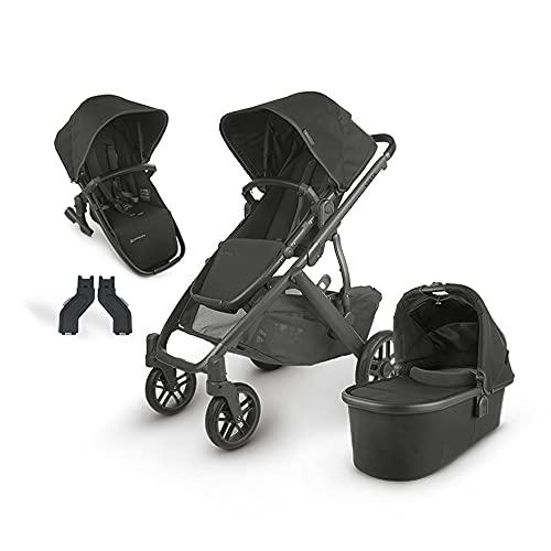 UPPAbaby Vista V2 Stroller - Jake (Black/Carbon/Black Leather) + Upper Adapter + RumbleSeat V2- Jake (Black/Carbon/Black Leather)