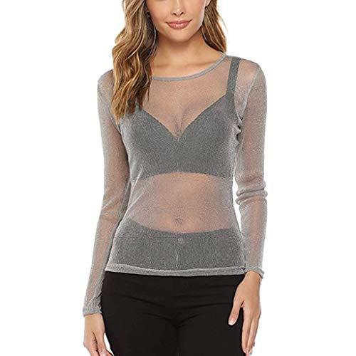 Dasongff shirt met lange mouwen voor dames, transparant, tule, mesh, body, T-shirt, tuniek, tops, lichtgewicht bovenstuk, multicolor