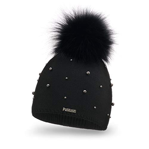 PaMaMi Damen Wintermütze mit Perlen | warme Strickmütze mit Bommel | Gestrickte weiche Bommelmütze | Slouch Beanie Hergestellt in EU | Fellbommel | Farbenauswahl (Black)
