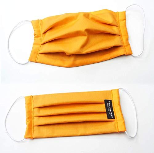 (Behelfs) Mundschutz Baumwolle, orange, waschbar bei 60 °, Handmade in Germany