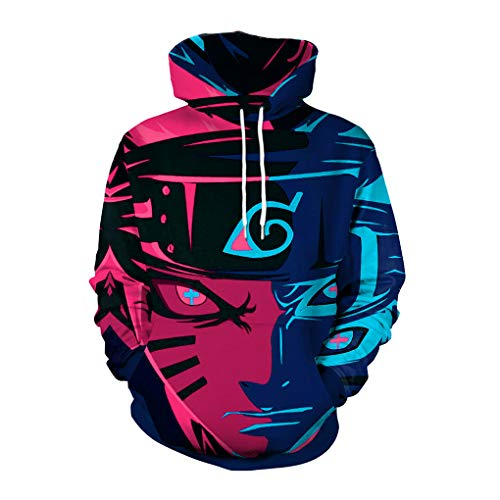 Memoryee 3D Naruto Anime Pattern Printed Pullover Hoodie Unisex Plus Size Outwear Lightweight Sweatshirt Style10 XL