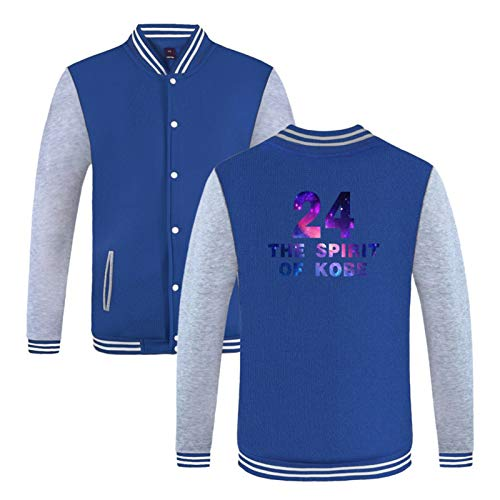 PQMW Kobe - Chaqueta de uniforme de béisbol, 24 Black Mamba Memorial Jacket, Laker Aviator Chaqueta de botonadura Sudadera, Ventiladores de Hombre Ropa Deportiva al aire libre azul-XS