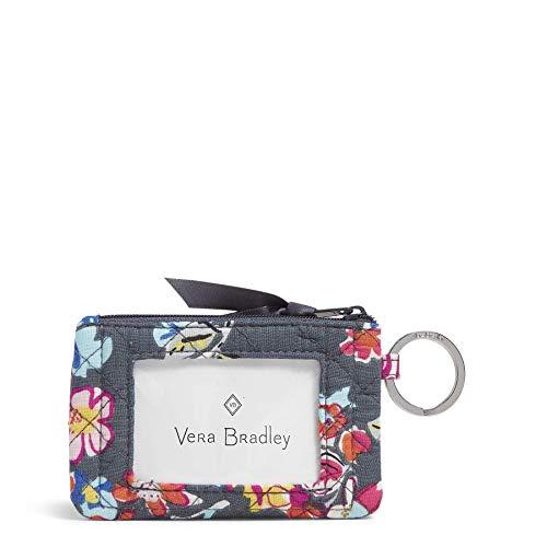 Vera Bradley Women's Wallet Signature Cotton Zip ID Case, Pretty Posies, One Size
