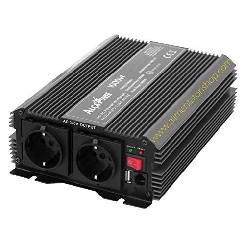 ALCAPOWER ACAL211 Inverter di Tensione by President 1000W 12V-230V, sinusoide modificata, Porta USB, Ingresso Telecomando, 1.0