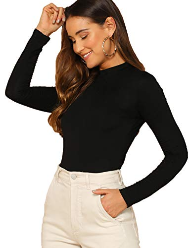 Verdusa Women's Basic Mock Neck Slim Fitted Long Sleeve Pullovers Tee Tops Black M