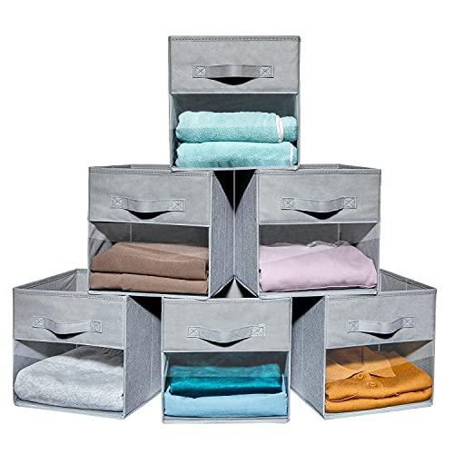 Vorshape 10.5x10.5x11 in 6pcs Cube Storage Bins/Boxes with Clear Window, 2 Sturdy Handles, Fabric Foldable Storage Baskets for Closet Shelf Organizer...