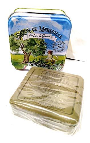 COTON BLANC, Savon de Marseille au Beurre de Karite et a l'huile d'olive dans sa Boite en Metal - Parfum de Grasse - Olive