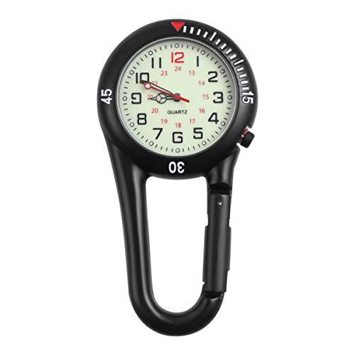 Hemobllo Clip-On Fob Uhr - Quarz Nachtlichtuhr Legierung Clip Karabiner Unisex Rucksack Schnalle Gürtel Uhr für Ärzte Krankenschwestern Klettern