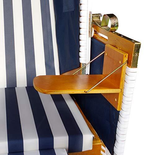 BRAST Strandkorb Nordsee XXL Volllieger Blau Weiß gestreift incl. Schutzhülle 2 Sitzer 120cm breit Gartenliege Sonneninsel Poly-Rattan - 3