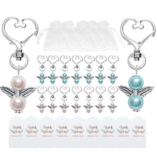 Daimay 20 juegos de cuentas de ángel con colgante de perlas de organza para regalo bolsas de agradecimiento Ángel guarda para invitados baby shower de boda recuerdos llavero regalo Set – rosa azul