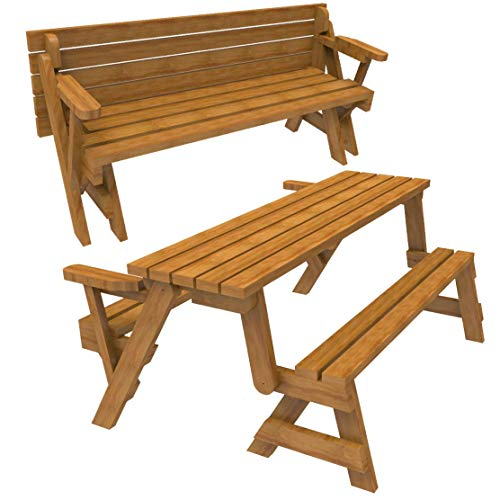 WoodworkersWorkshop Woodworking Plan to Build a Convertible Folding Bench/Picnic Table (Not a RTA Kit)