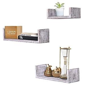 UMI. by Amazon Estantes flotantes rústicos con Montaje en la Pared para dormitorios y Salas de Estar, Set de 3: Amazon.es: Hogar