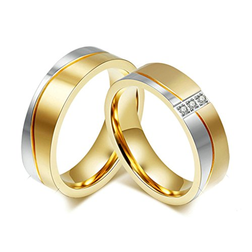 Daesar Uomo Banda Acciaio Inossidabile Anello per Coppie Argento Oro Anelli Zirconi Dimensioni:27