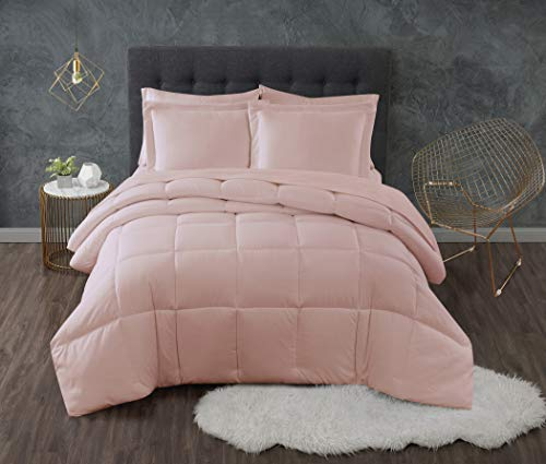 TRULY CALM HOME FOR HEALTH Set Antimicrobial Comforters, Full/Queen, Blush