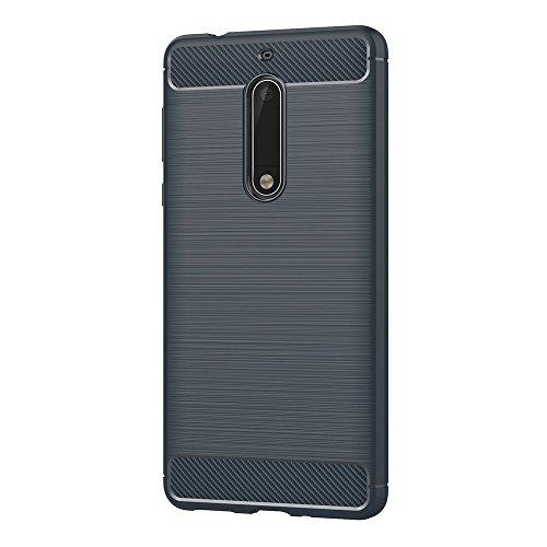 AICEK Nokia 5 Hülle, Blau Silikon Handyhülle für Nokia 5 Schutzhülle Karbon Optik Soft Case (5,2 Zoll)