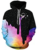 BarbedRose Men's Digital Print Sweatshirts Hooded Top Galaxy Pattern Hoodie,Rainbow Milk,XXL