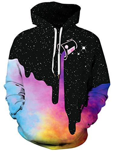 BarbedRose Men's Digital Print Sweatshirts Hooded Top Galaxy Pattern Hoodie,Rainbow Milk,L/XL