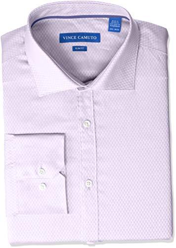 Vince Camuto Men's Slim Fit Spread Collar Fashion Dress Shirt, Grape Diamond Dobby, 17 34/35