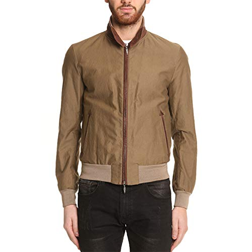Stewart Thomas Slim Fit kurtka męska z bawełny i wstawkami ze skóry w kolorze taupe P/E