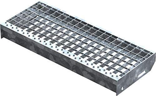 Fenau | Gitterrost-Stufe (R11) XSL – Maße: 600 x 240 mm, MW: 30/30 mm, Vollbad-Feuerverzinkt, Stahl-Treppenstufe nach DIN-Norm, Fluchttreppen geeignet, Anti-Rutsch-Wirkung