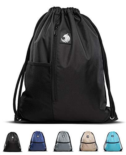 Fitgriff® Turnbeutel für Damen und Herren, Sportbeutel, Gymsack, Rucksackbeutel, Gym Bag Drawstring Backbag Bag (Black mit Netzfach)