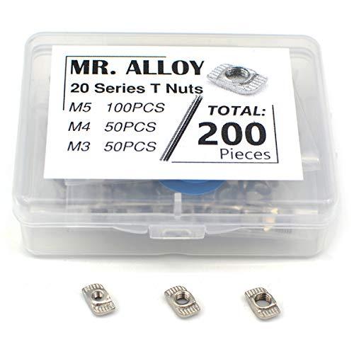 MR. ALLOY 2020 Series T Nuts Assortment 200 Pieces Steel Nut M3 M4 M5 for Aluminum Profile