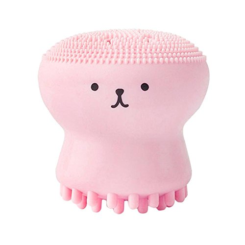 Colinsa Gesichtsreinigungsbürste Pink Jellyfish Shaped Silicone Octopus Gesichtsreinigungspuder Puff Brush