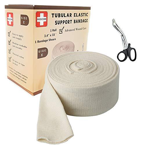 Premium Elastic Tubular Medical Bandage Size E Stockinette, 3.4 inches x 33 Feet Plus Medical Scissors