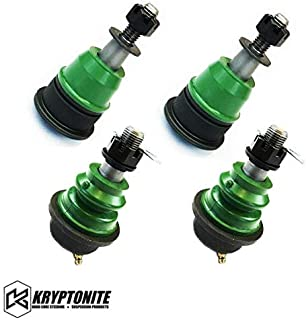 Kryptonite Green Upper and Lower Ball Joint Package Deal (For Stock Control Arms) Compatible with 2001-2010 Chevy/GMC 2500HD 3500HD